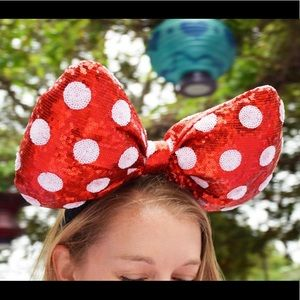 NEW Minnie Ears-Large Polka Dot Red Bow